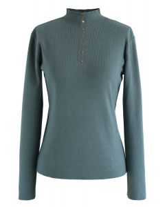 Buttoned Mock Neck Fitted Knit Top in Teal