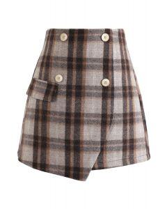 Plaid Button Flap Mini Skirt