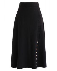 Braid Button Trim A-Line Knit Skirt in Black