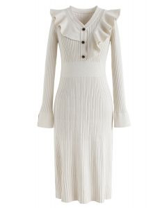 Ruffle Trim V-Neck Ribbed Knit Dress in Cream