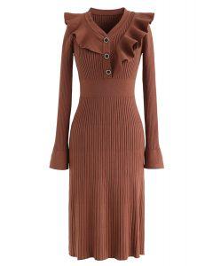 Ruffle Trim V-Neck Ribbed Knit Dress in Caramel