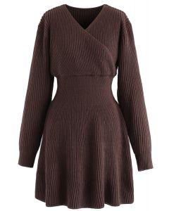 Wrap Knit Skater Dress in Brown