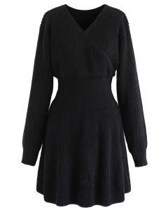 Wrap Knit Skater Dress in Black