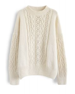 Braid Texture Hollow Out Fluffy Knit Sweater