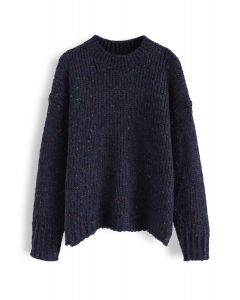 Round Neck Loose Knit Sweater in Navy
