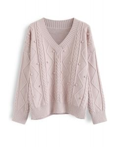 Pom-Pom Braid V-Neck Knit Sweater in Pink
