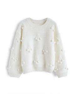 Cherry Pom-Pom Knit Sweater in White