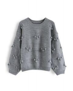 Cherry Pom-Pom Knit Sweater in Grey
