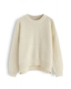 Wavy Round Neck Fuzzy Loose Knit Sweater in Cream