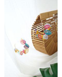 Multicolored Mesh Petals Hoop Earrings