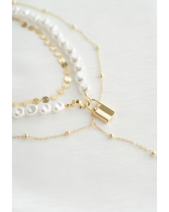 Multi-Layered Coin Pearl Gold Lock Necklace