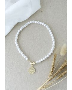 Imitation Pearl Coin Pendant Necklace