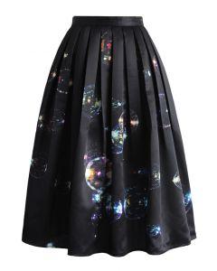 Bubbles Shining in Dark Midi Skirt