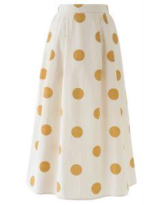 Contrast Polka Dots Print Midi Skirt in Light Yellow