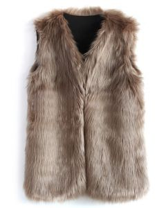 Mid-Length Brown Faux Fur Vest