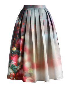 Merry Ornaments Print Midi Skirt