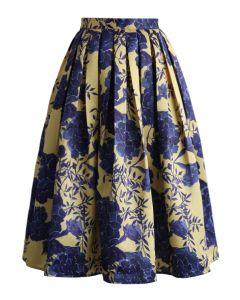 Retro Floral Ode Printed Midi Skirt