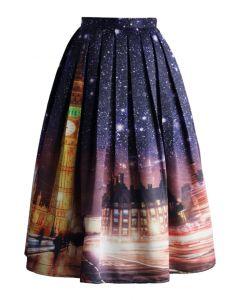 Splendid Big Ben Night Printed Midi Skirt