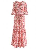 Wildflower Flare Sleeves Wrapped Maxi Dress in Red