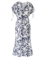 Drawstring Buttoned Floral Frilling Dress