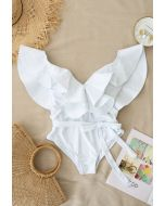 Plunging V-Neck Ruffle One-Piece Swimsuit in White