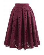Floral Cutwork Jacquard Midi Skirt in Wine