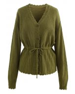 Drawstring V-Neck Button Down Knit Cardigan in Moss Green