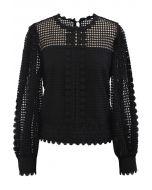 Solid Tone Full Crochet Long Sleeves Top in Black