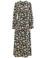 Watercolor Floral Wrapped Maxi Dress in Green