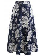 Navy Floral Jacquard Pleated Midi Skirt