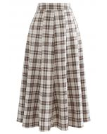 High-Waisted Tartan Flare Skirt in Tan