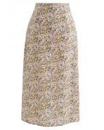 Ditsy Floral Chiffon Pencil Skirt in Yellow