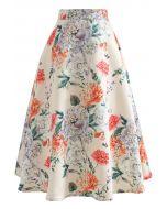 Morning Peony Printed A-Line Midi Skirt