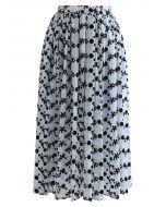 Velvet Floret and Dot Midi Skirt in Blue