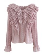 Tiered Ruffle Neck Embroidered Chiffon Top in Pink