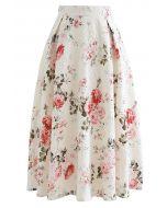 Embossed Floral Pleated Midi Skirt in Ivory