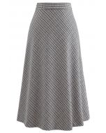 Grid Houndstooth Flare A-Line Midi Skirt