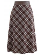Faux Leather Waist Plaid Pencil Skirt in Brown