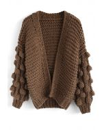 Cuteness on Sleeves Chunky Cardigan in Brown