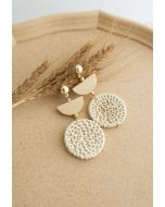Organic Wooden Straw Weave Earrings