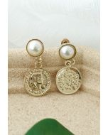 Vintage Gold Coin Pearl Drop Eearrings