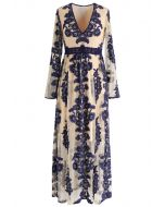 V-Neck Floral Embroidered Mesh Maxi Dress in Navy