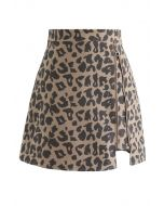 Leopard Print Zipper Mini Skirt in Sand